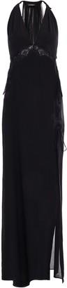 La Perla Lace-trimmed Tulle And Stretch-silk Chiffon Nightgown