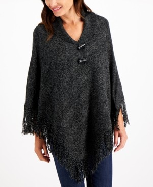 Karen Scott Plus Size Cable-Knit Fringe-Hem Poncho, Created for Macy's