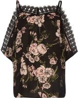 River Island Womens Black floral crochet trim cold shoulder top