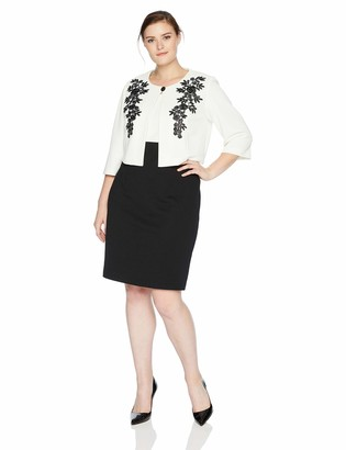 Danny And Nicole Danny & Nicole Women's Plus Size Two Piece Structured Jacket Dress with Lace Detail