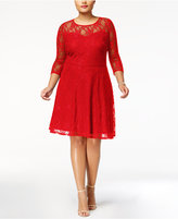 Love Squared Trendy Plus Size Illusion Lace Fit & Flare Dress