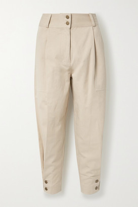 Ulla Johnson Fleet Tencel And Cotton-blend Twill Tapered Pants - Beige