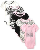Juicy Couture Newborn/Infant Girls) 5-Pack Logo Printed Bodysuits