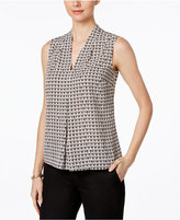 Nine West V-Neck Pleated Top