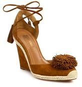 Aquazzura Sunshine Pom-Pom Suede Espadrille Wedge Sandals