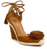 Aquazzura Sunshine Pom-Pom Suede Espadrille Wedge Sandals