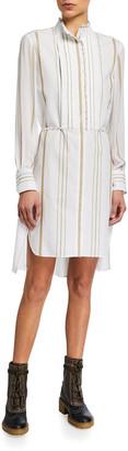 Chloé Striped Ruffle-Trim Shirtdress