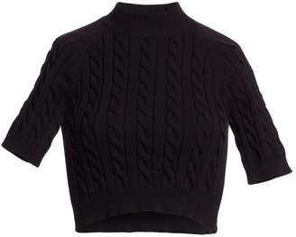 Alexander Wang Cable-Knit Short-Sleeve Crop Sweater