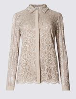 Marks and Spencer Sparkle Lace Collared Neck Blouse