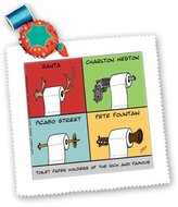 3dRose LLC qs_2219_1 Londons Times Funny Music Cartoons - Toilet Paper Holders Of The Rich And Famous - Quilt Squares