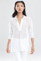 Josie Natori Perforated Shirting Tunic