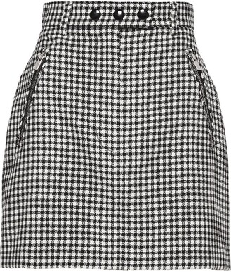 Miu Miu Gingham Wool Mini Skirt