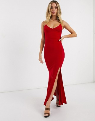 Club L London Club L cami strap maxi dress with thigh split in red