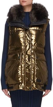 Army by Yves Salomon Fox trim hood metallic puffer jacket