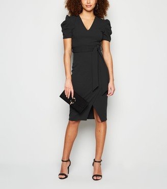 New Look Puff Sleeve Tie Waist Belted Dress