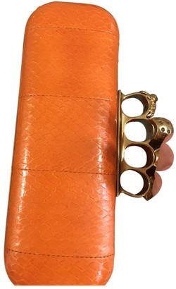 Alexander McQueen Skull Orange Python Clutch bags
