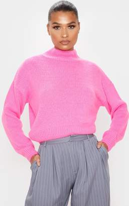 PrettyLittleThing Hot Pink High Neck Fluffy Knit Cropped Jumper