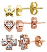 Lord & Taylor Three-Piece Heart, Star and Cross Sterling Silver Stud Earrings