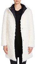 Oui Faux Fur Reversible Coat, White/Black