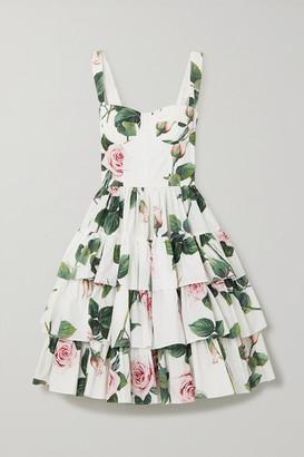 Dolce & Gabbana Tiered Floral-print Cotton-poplin Dress - White