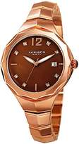 Akribos XXIV Women's Swarovski Crystal Accented Brown Dial with Rose-Tone Bracelet Watch AK932RGBR