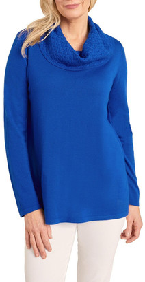 Blue Illusion Cable Cowl Neck Knit