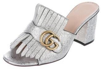 Gucci Double G Logo Silk Slides Silver