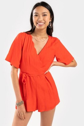 francesca's Shelly Scalloped Front Romper - Red