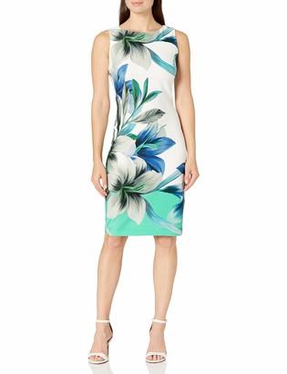 Gabby Skye Women's Sleeveless Floral Print Midi Scuba Sheath Dress