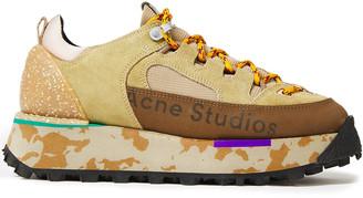 Acne Studios Berton Printed Suede And Mesh Platform Sneakers