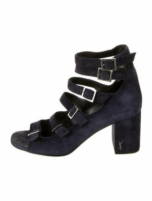 Saint Laurent Suede Gladiator Sandals Blue