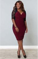 Kiyonna Plus Size Black & Burgundy Valentina Illusion Wiggle Dress