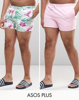 Asos Plus Swim Shorts 2 Pack In Pink And Floral Print In Short Length Save