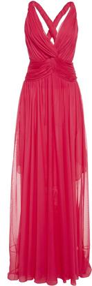 Oscar de la Renta Gathered V-Neck Strap Gown