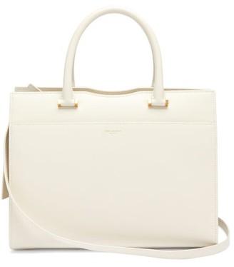 Saint Laurent Uptown Medium Grained-leather Tote - Womens - White