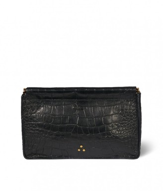 Jerome Dreyfuss Clic Clac Large Clutch in Croco Noir