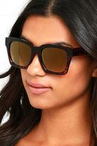 LuLu*s Knock Tortoise and Dark Gold Mirrored Sunglasses