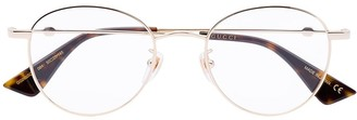 Gucci Bee Detail Round-Frame Glasses