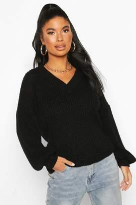boohoo Petite V Neck Chunky Knit sweater