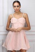 Opulence Light Pink Plait Trim Skater Dress