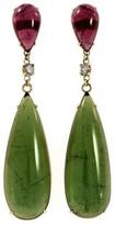 Peter Suchy 18K Yellow Gold Pink & Green Tourmaline Diamond Dangle Earrings