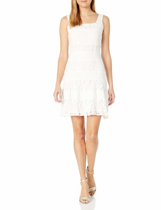Julian Taylor Women's Sleeveless Pintuck and Lace Dress