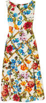 Dolce & Gabbana Printed Cotton And Silk-blend Brocade Midi Dress - Orange