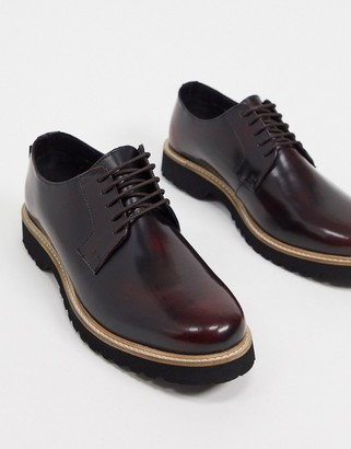 Ben Sherman chunky sole lace up shoes in bordo hi shine leather