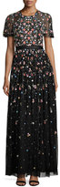Needle & Thread Starburst Floral-Embellished Short-Sleeve Gown, Black