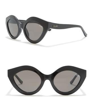 Quay Goodnight Kiss 51mm Round Cat-Eye Sunglasses
