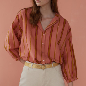 Des Petits Hauts Yellow and Pink Striped Blouse - T2