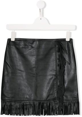 Msgm Kids TEEN short fringed skirt