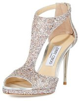 Jimmy Choo Lana Glitter T-Strap 100mm Sandal, Camellia Mix