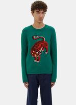 Gucci Men's Tiger Intarsia Knit Crew Neck Sweater In Green